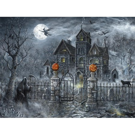 Uninvited Guest Gothic Halloween Haunted House Grim Reaper Print Wall Art By Jeff (Halloween Word Art)