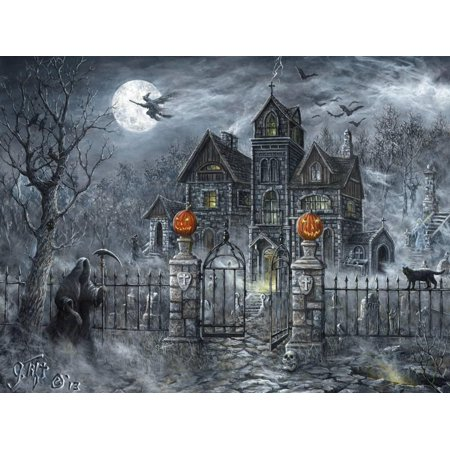 Uninvited Guest Gothic Halloween Haunted House Grim Reaper Print Wall Art By Jeff Tift](Halloween Art Printables)