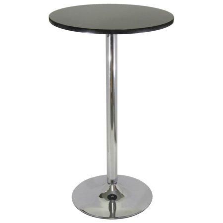 Pub Table, Black and Chrome Chrome Base Pub Table