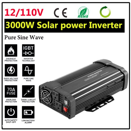 Solar Power Inverter 5000W 6000W DC 12V To AC 110V Modified Sine Wave Converters Adapter Manual Switch Over Temperature Protection LED Display 2-USB For Home Appliance (Best Appliances For Solar Power)