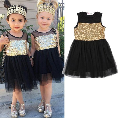 Cute Toddler Baby Girls Sequins Lace Dress Kids Party Formal Dresses 2-7Year