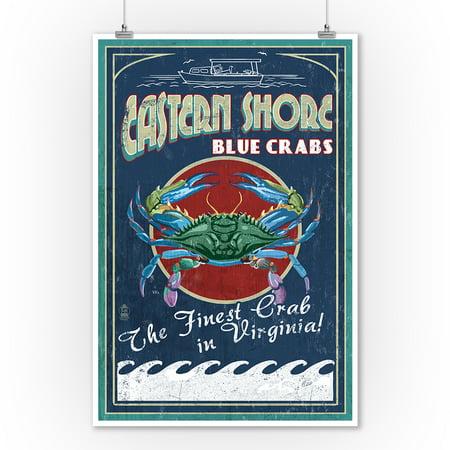 Eastern Shore, Virginia - Blue Crabs Vintage Sign - Lantern Press Artwork (9x12 Art Print, Wall Decor Travel Poster) ()
