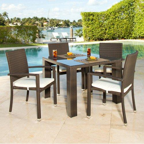 Source Outdoor Zen St. Tropez All-Weather Wicker Patio Dining Set - Seats 4