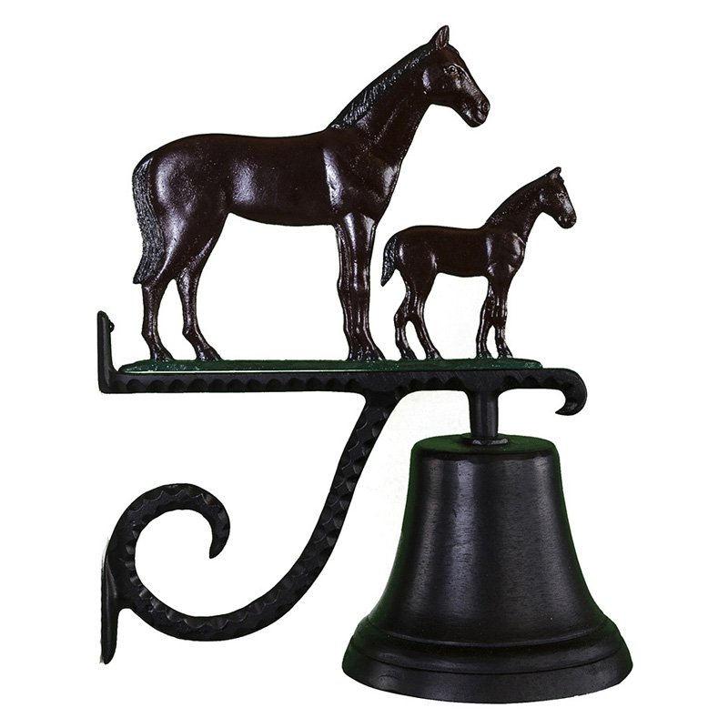 Cast Bell with Color Mare & Colt Ornament