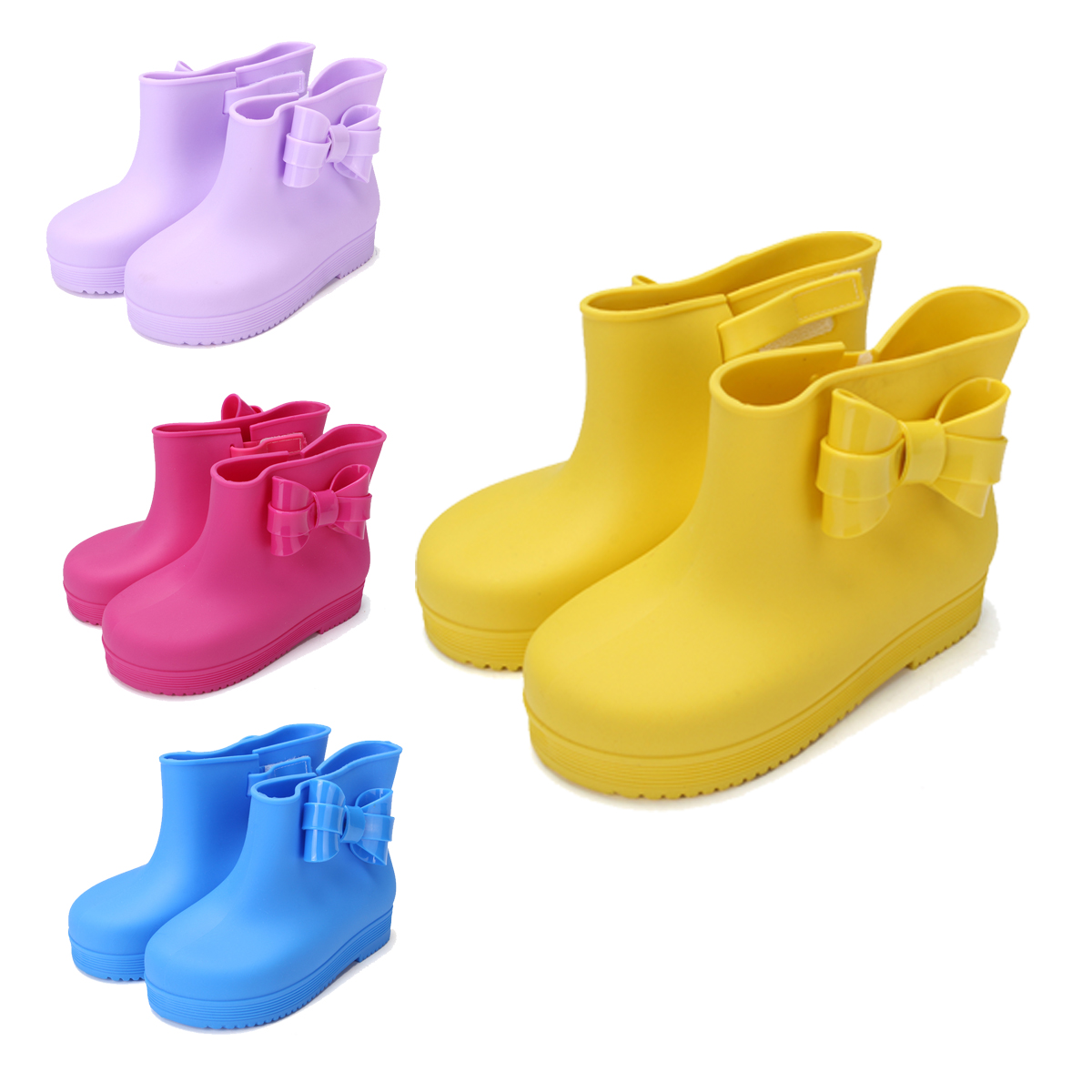 Cute Children Kids Cartoon Rain Boots Rubber Wellies Jelly Shoes Multi-color