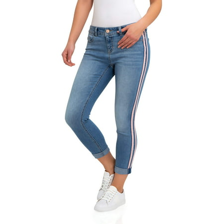 Women's Super Soft Mid Rise Skinny Jeans with Side