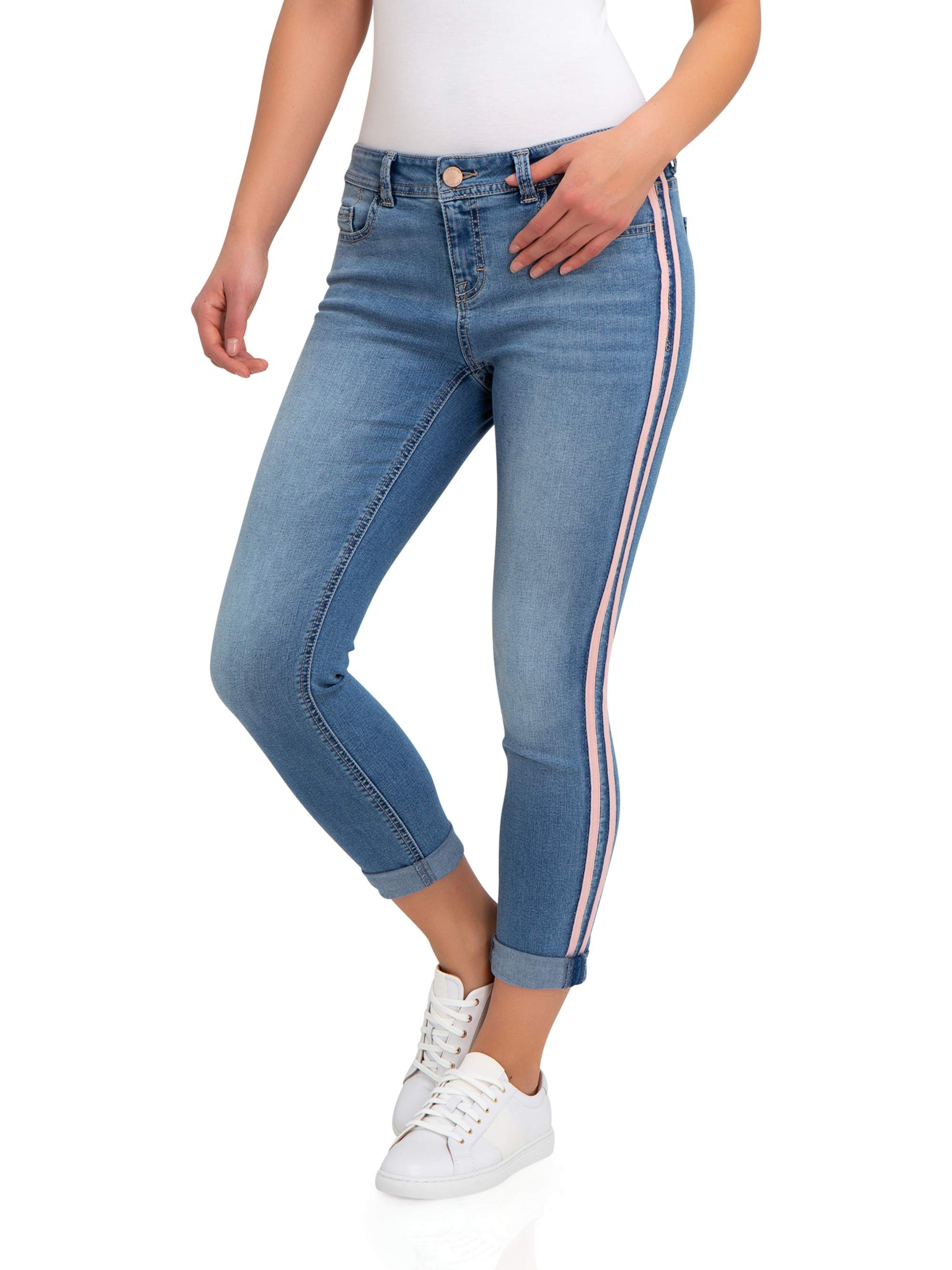 Women's Super Soft Mid Rise Skinny Jeans with Side Tape