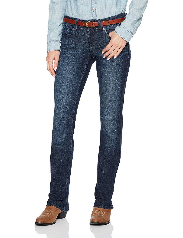 21a74a686d3 Wrangler - wrangler women's dark wash stretch denim jeans straight leg -  09mwtds - Walmart.com