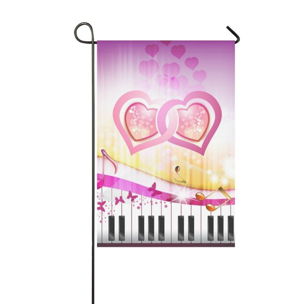 Mkhert Piano Keys With Butterflies Valentines Day Garden Flag Banner Decorative Flag For Wedding Party Yard Home Outdoor Decor 12x18 Inch Walmart Com Walmart Com