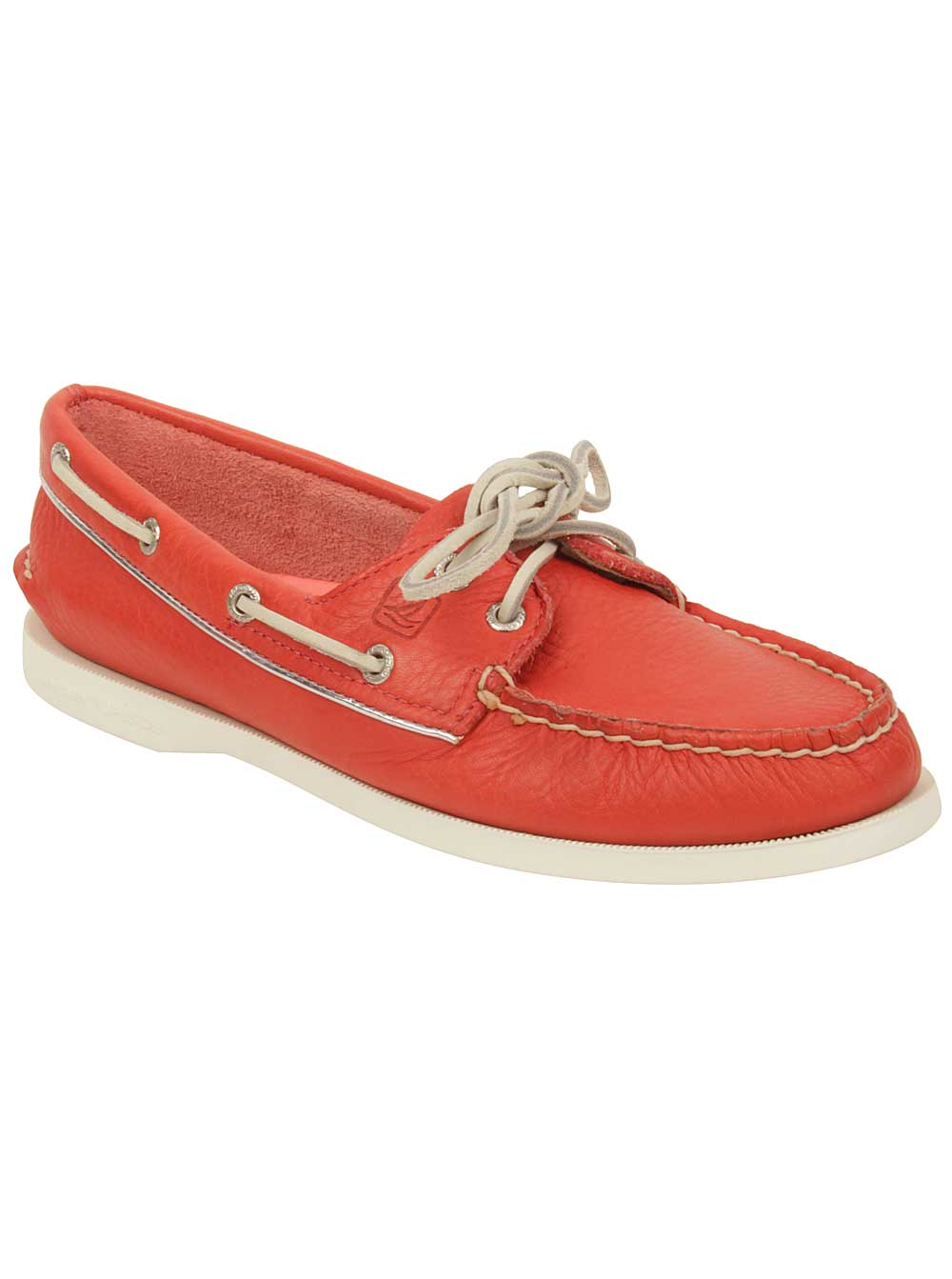 Sperry Womens A/O Boat Shoes in Neon Coral/Silver