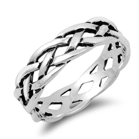 Celtic Knot Open Eternity Stackable Ring New 925 Sterling Silver Band Size 11 925 Silver Celtic Ring