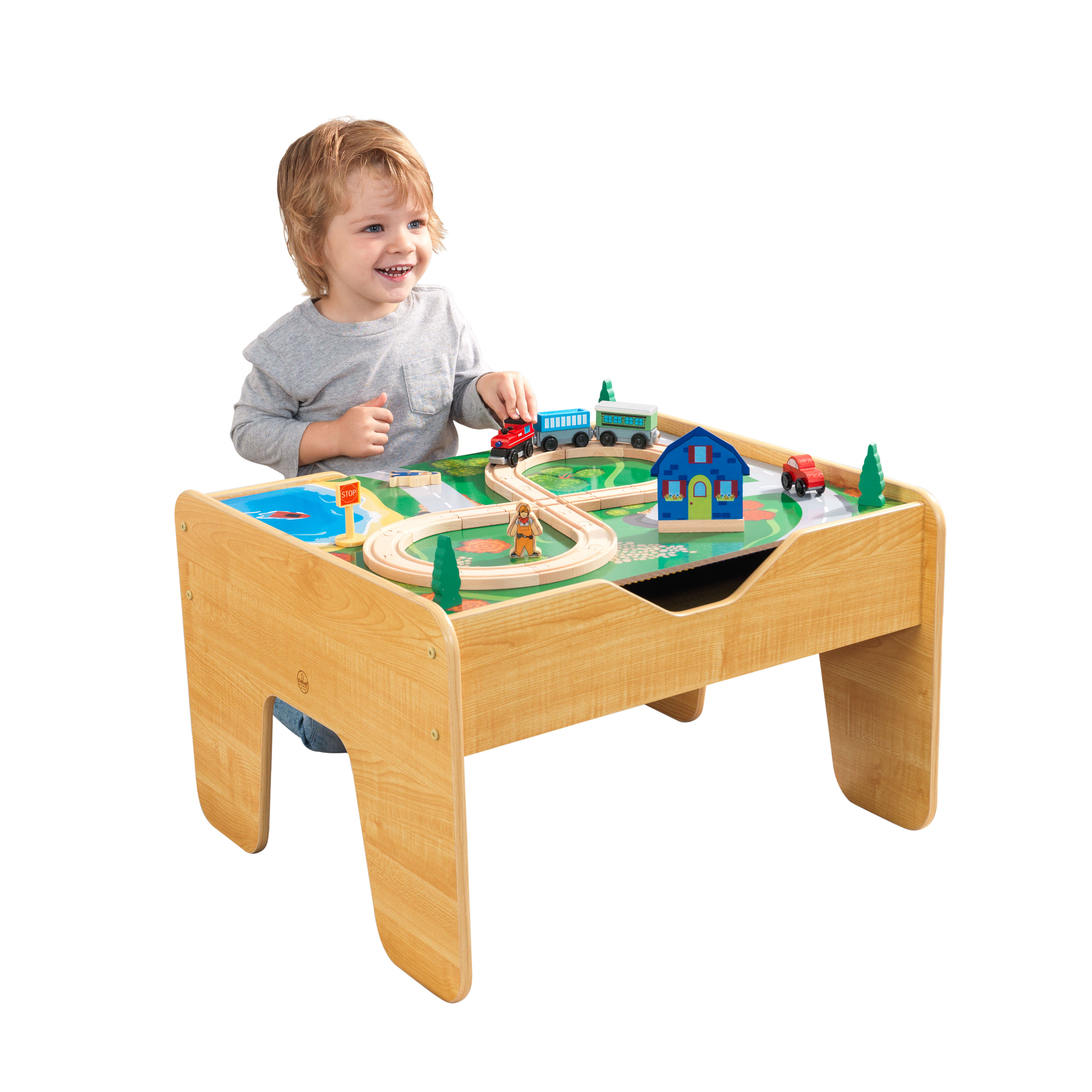 KidKraft 2-in-1 Activity Table With Board - Natural with 230 accessories included