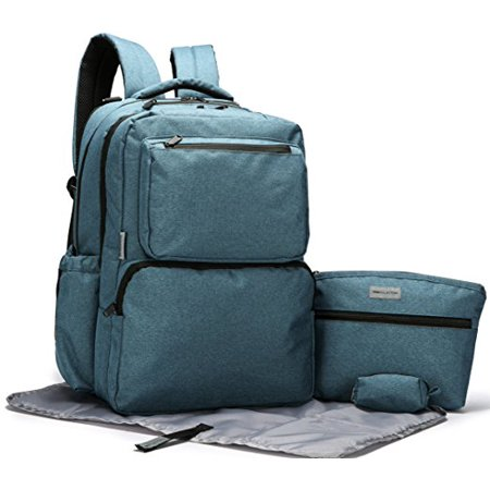 - SoHo Collections, Ultimate Unisex Mom and Dad Diaper Bag Backpack with Stroller Straps, Multiple Large Pockets, and Diaper Changing Pad, 5 Piece Set (Teal)
