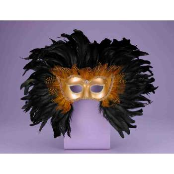 Gold Venetian Feather Mask - MASK-VENETIAN GOLD W/FEATHERS