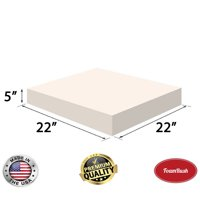 "FoamRush 5"" x 22"" x 22"" Upholstery Foam High Density Firm Foam Soft Support (Chair Cushion Square Foam for Dinning Chairs, Wheelchair Seat Cushion Replacement)"