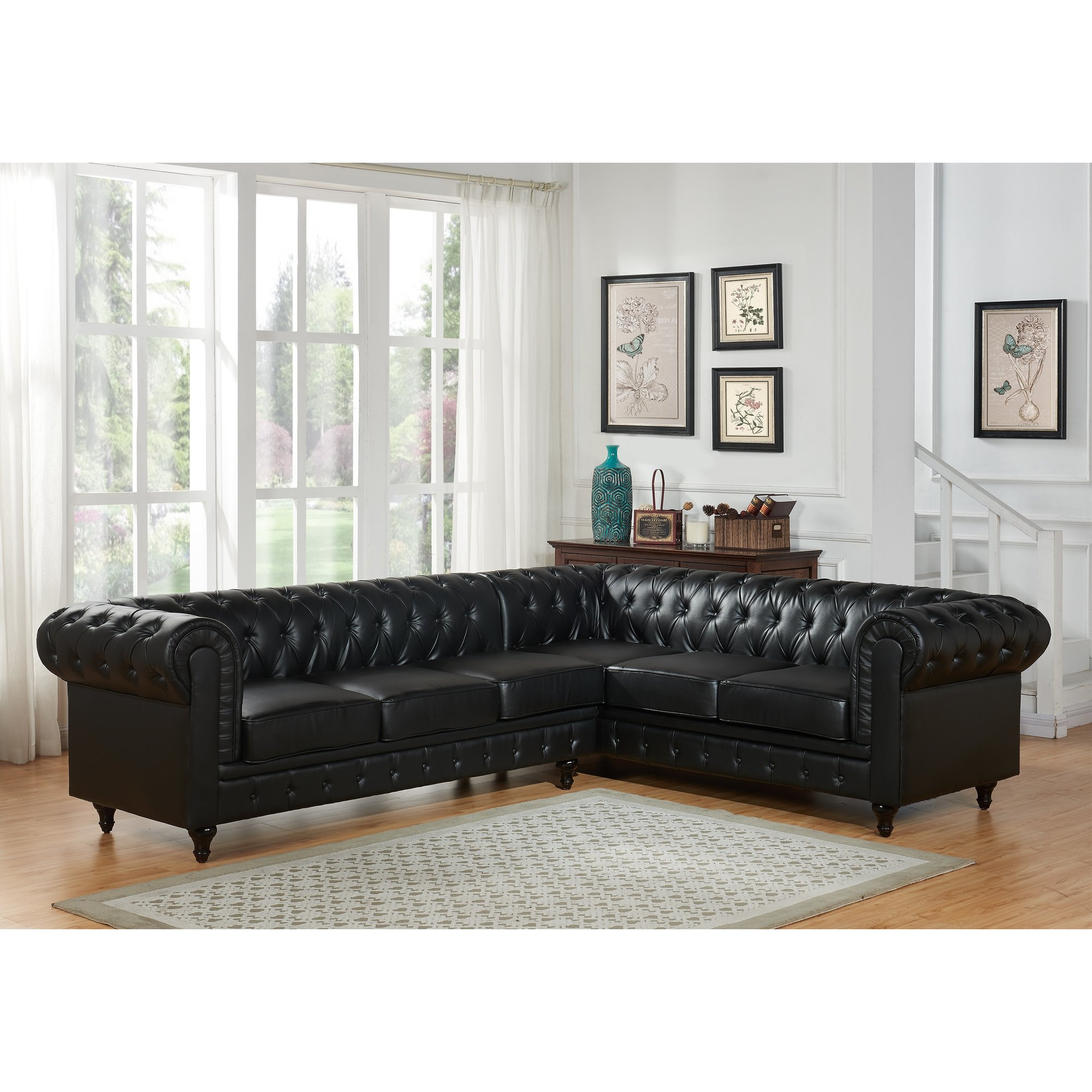 US Pride Furniture Sophia Classic Button Tufted Fabric Upholstered 2-Pc Left Facing Sectional Sofa, Black, S0098L-2PC