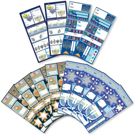 Jillson & Roberts Gift Label Assortment, Hanukkah Designs (12 Sheets) (Hanukkah Supplies)