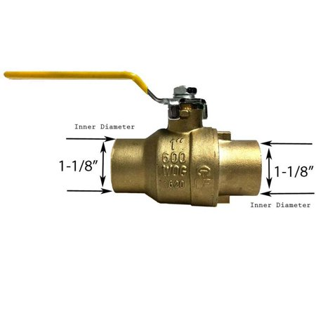 Libra Supply 1 inch Lead Free All Sweat Brass Ball Valve CxC, (Click in for more size options), 1'' Full Support, 600 WOG, Forge Body