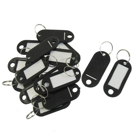 Unique Bargains 20pcs Key ID Tags Name Card Labels Keyring Keychain Black