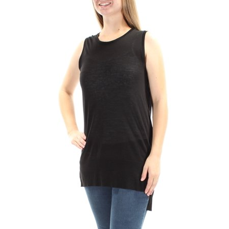 DKNY Womens Black Sheer Without Cami Sleeveless Jewel Neck Hi-Lo Top Size: S