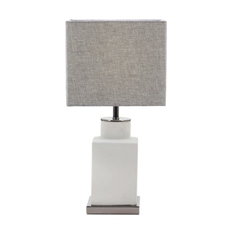 Decmode Modern Concrete and Iron Square Bottle-Shaped Gray Table Lamp, Light Gray