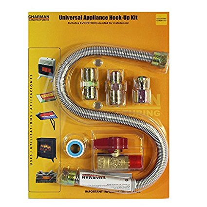 Universal Gas Appliance Installation Kit - 22-Inch One-Stop Range Hook-Up - Stainless Steel Flexible Connector Line - 1/2-Inch Brass Flare Shut Off Valve & Couplings - Water Heater Stove
