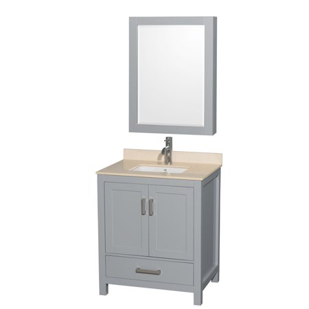 Bathroom Vanity Cabinet Marble - Wyndham Collection Sheffield 30 inch Single Bathroom Vanity in Gray, Ivory Marble Countertop, Undermount Square Sink, and Medicine Cabinet
