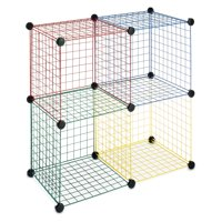 "Whitmor Kids Storage Cubes - Stackable Interlocking Wire Shelves - Set of 4 - 14.25"" x 14.5"" x 14.5"""