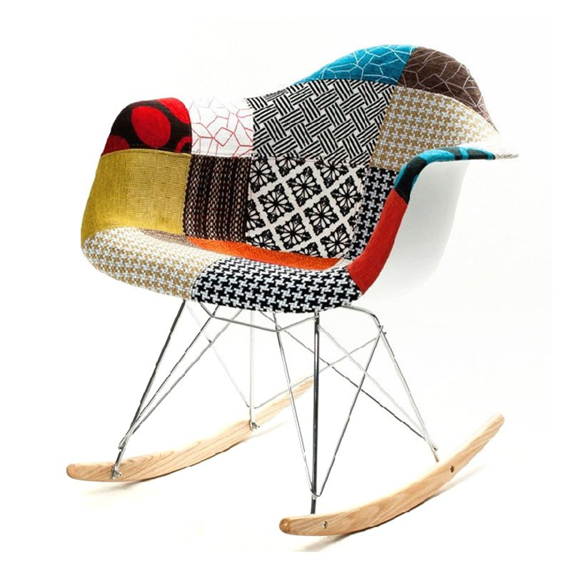 Fine Mod Imports Patterned Rocker Arm Chair-Color:Multi Colored,Style:Contemporary/Modern