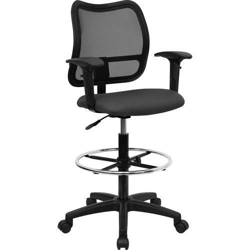 Ergonomically Contoured Mesh Back Drafting Stool with Arms, Multiple Colors