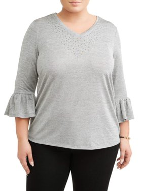 53a70e92d13b3 Product Image Women s Plus Size Embellished Frill Sleeve Top