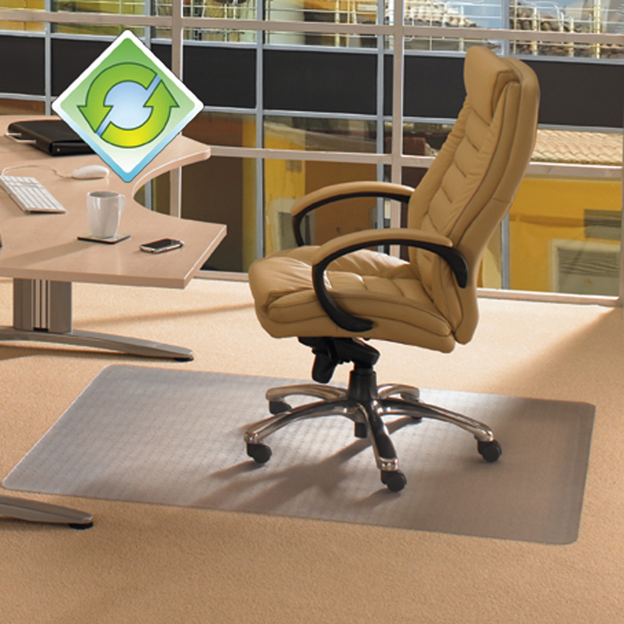 """EcoTex Evolutionmat   Recyclable Chair Mat   For Standard Pile Carpets (3/8"""" or less)   Rectangular with Lip   Size 36"""" x 48"""""""