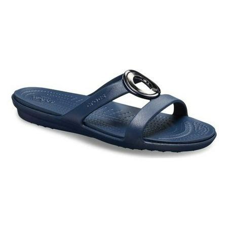 Crocs Women's Sanrah MetalBlock Sandal (Metal Nappa Footwear)