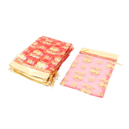 Organza Double Happiness Print Drawstring Pouch Wedding Gift Bag Red 25 Pcs