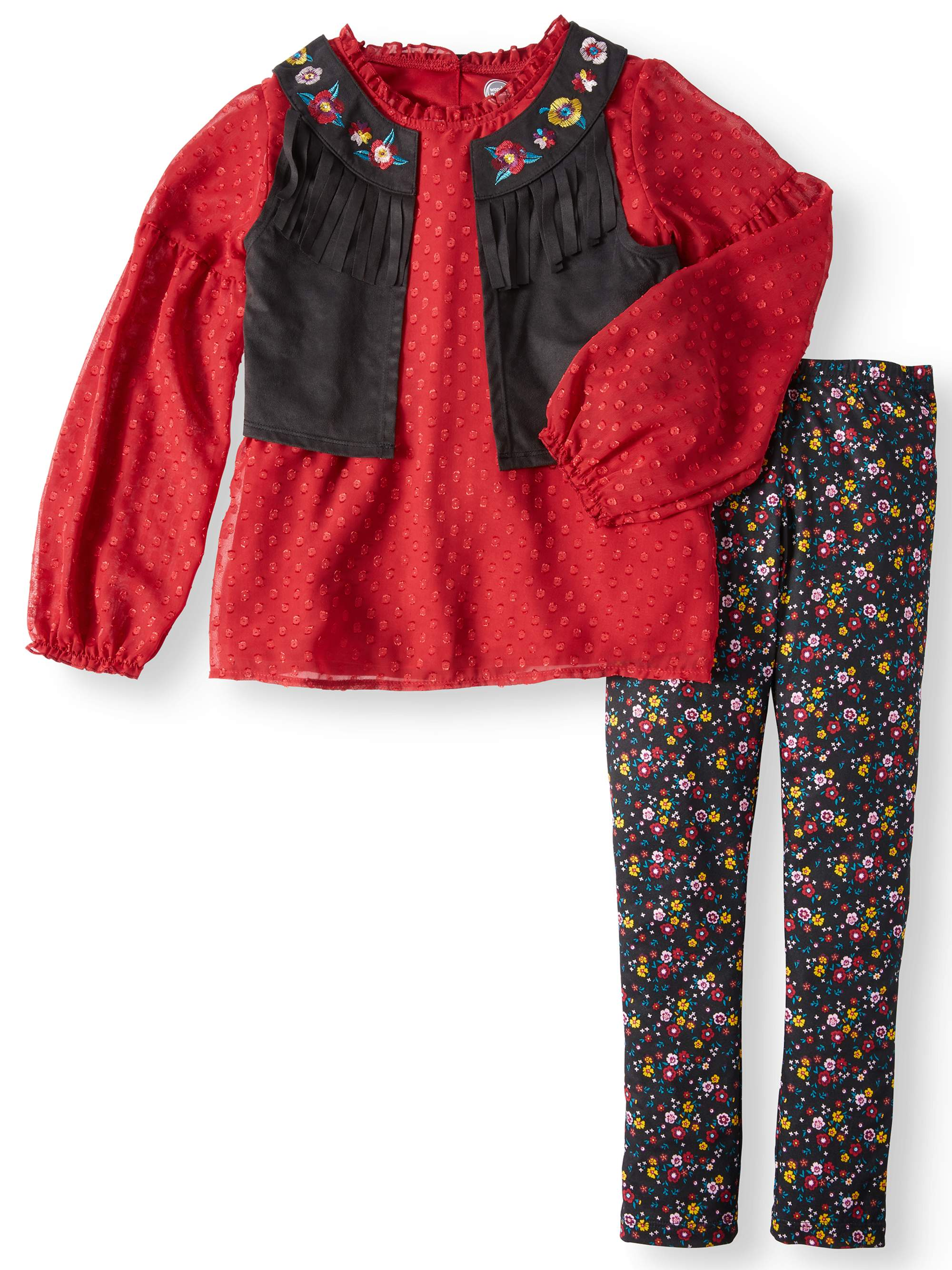 Boho Vest, Lace Top and Leggings, 3-Piece Outfit Set (Little Girls & Big Girls)