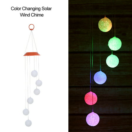 Color Changing Solar Wind Chime Six Balls Mobile Romantic Wind-Bell Outdoor LED Hanging Night Lights for Garden Yard Festival Decor - image 3 of 7