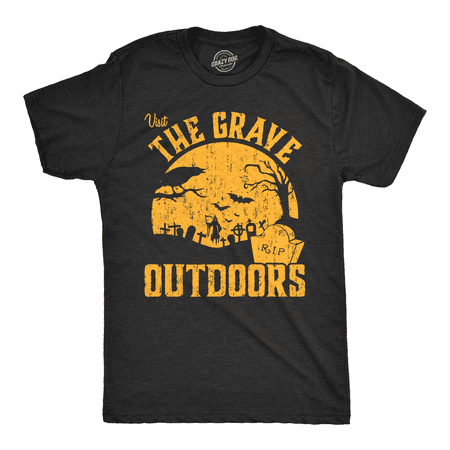 Mens Visit The Grave Outdoors Tshirt Funny Halloween Cemetary Tee For Guys - Last Minute Halloween Ideas For Guys