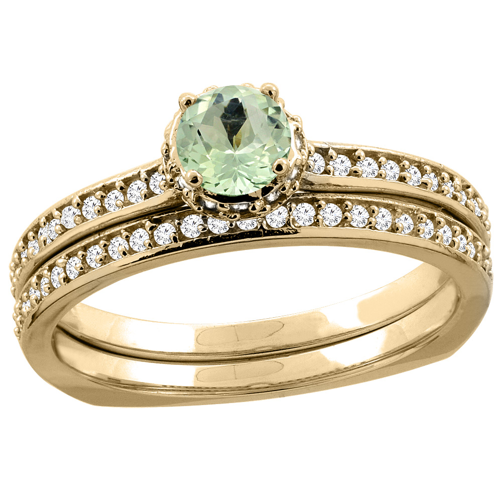 10K Yellow Gold Diamond Natural Green Amethyst 2-pc Bridal Ring Set Round 4mm, sizes 5 10 by WorldJewels