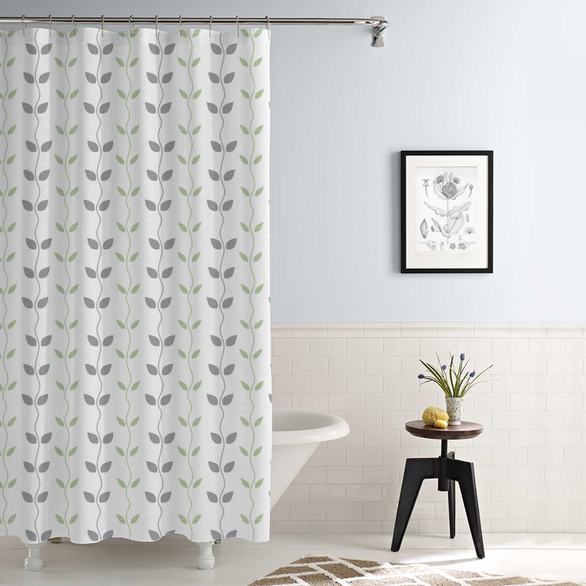 Waterproof Printed Shower Curtain Organic Vines Grey Aqua