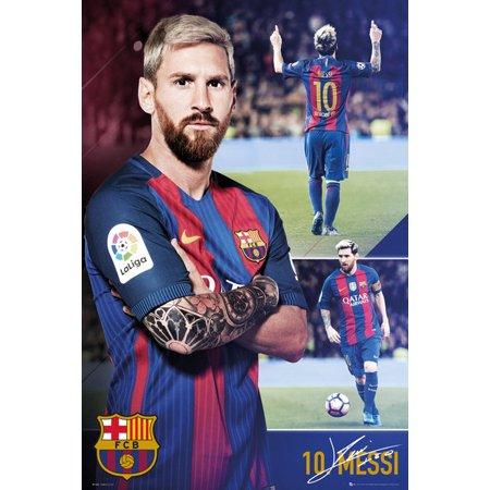 fc barcelona soccer poster print lionel messi collage season 2017 2018 size 24. Black Bedroom Furniture Sets. Home Design Ideas