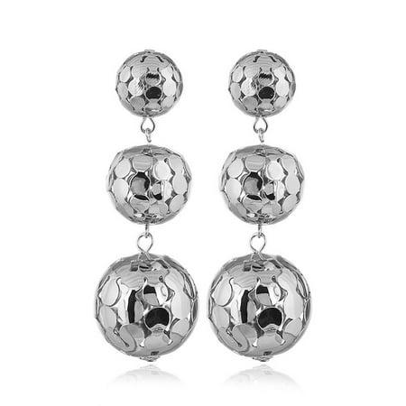 Women Fashion 3 Hollow Metal Ball Long Earring Modern All-match Eardrop Ornament