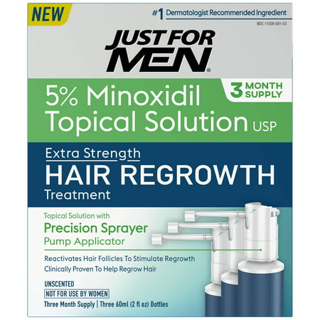Just For Men Extra Strength Hair Regrowth Treatment, 5% Minoxidil Topical Solution USP, 3 Month Supply, 6 Fluid
