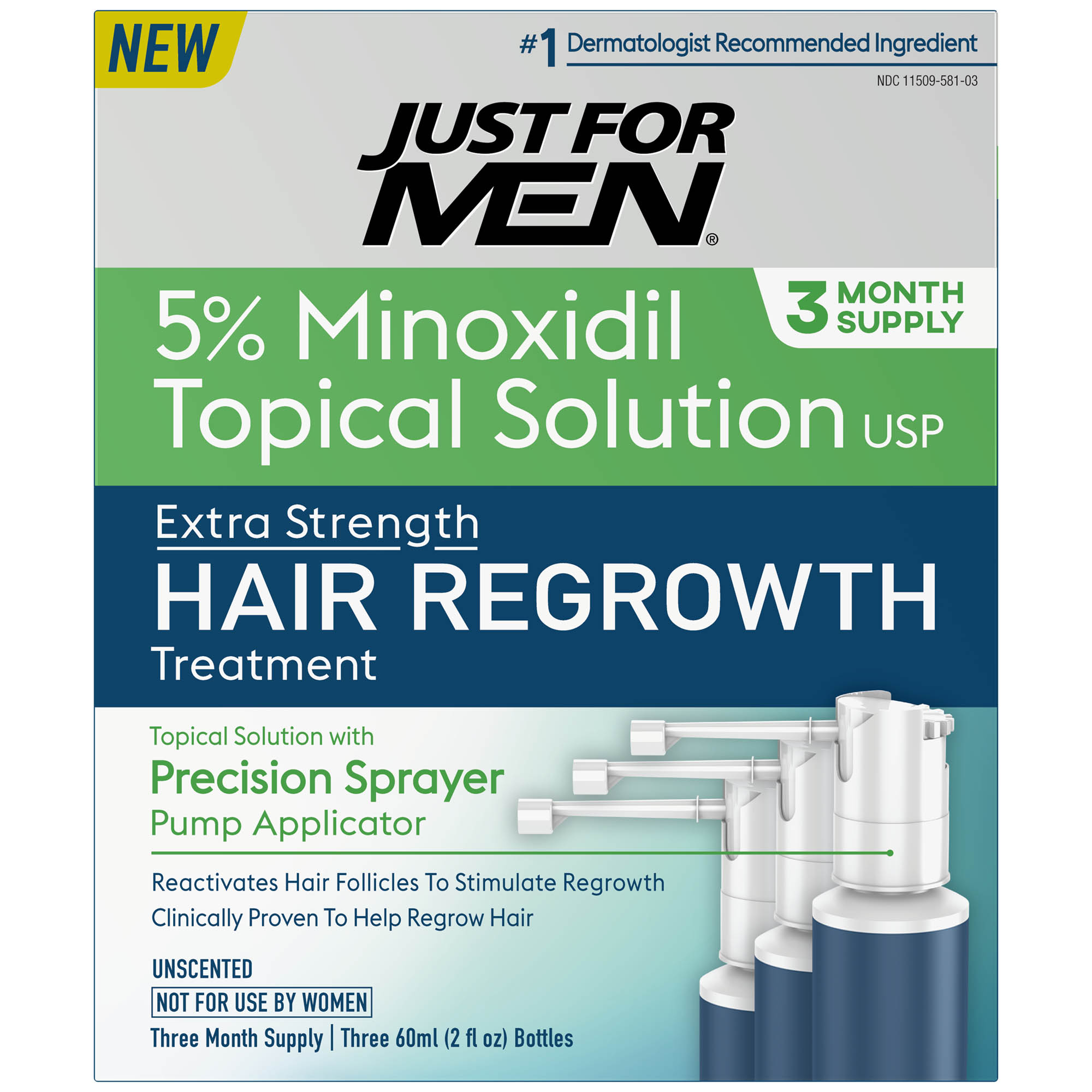 Just For Men Extra Strength Hair Regrowth Treatment, 5% Minoxidil Topical Solution USP, 3 Month Supply, 6 Fluid Ounce
