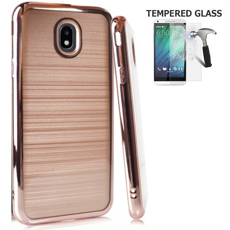 Chrome Case Watch (Phone Case for Galaxy J7 Crown, Galaxy J7 (2018), Galaxy J7 Refine, Galaxy J7 V 2nd Gen Case, Galaxy J7 Top, J7 Star, J7 Aero, Two Layer Chrome Edge TPU Cover and Brushed Style Case  (Rose Gold) )