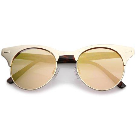 (sunglassLA - Women's Matte Finish Horn Rimmed Round Flat Mirror Lens Cat Eye Sunglasses 49mm - 49mm)