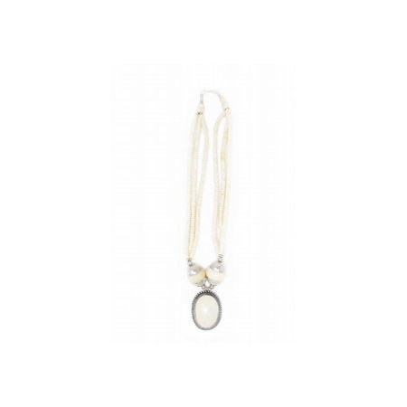 White Beaded and Silver Tibetan Necklace Jewelry - White Bead Necklaces