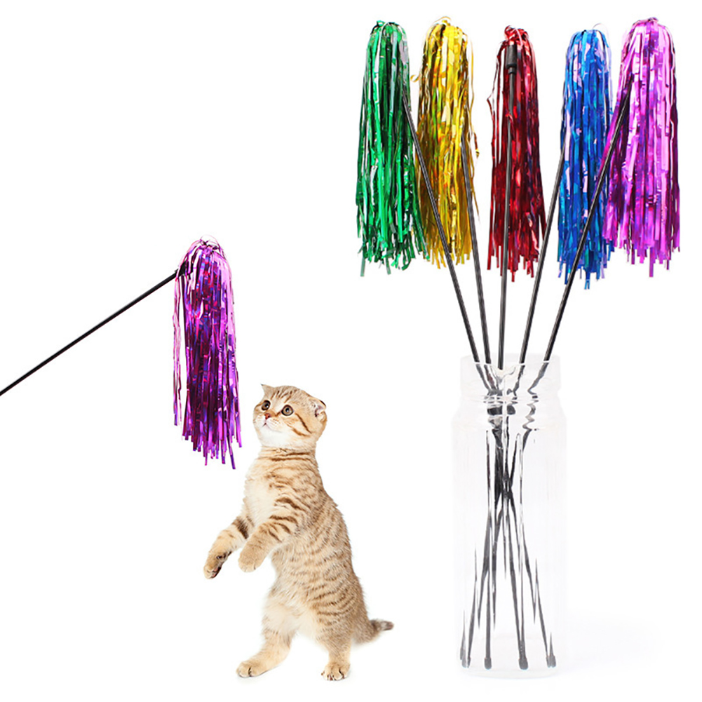 Girl12Queen Funny Bright Color Paper Pet Cat Kitten Tease Rod Wand Play Interactive Toy