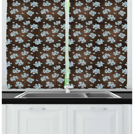 Brown and Blue Curtains 2 Panels Set, Flowers with Vertical Dotted Lines Abstract Floral Arrangement Art, Window Drapes for Living Room Bedroom, 55W X 39L Inches, Bluegrey White Brown, by Ambesonne