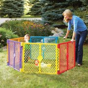 Toddleroo by North States Superyard Colorplay Multi-Color Playard, 6 Panel with Portable Design