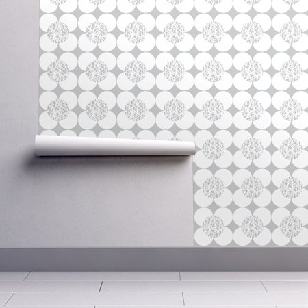 Peel-and-Stick Removable Wallpaper Flower Flower Gray White Retro Home -